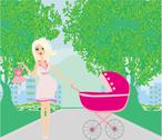 Stock Illustration of beautiful pregnant woman pushing a stroller