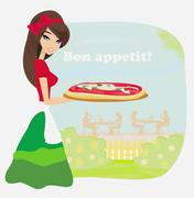 smiling waitress serving pizza - stock illustration