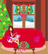 Happy woman shopping online . Stock Illustration