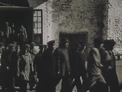 industrial workers going to work. circa 1931 - stock footage