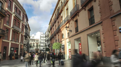 Seville city shopping streets area time lapse Stock Footage