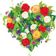 heart shape is made of beautiful flowers - roses, pansies, bell flowers isola - stock illustration
