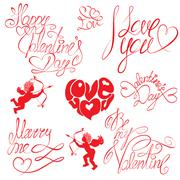 set of hand written text: happy valentine`s day, i love you, marry me, etc. c - stock illustration
