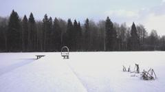 Winter season at frozen lake Stock Footage