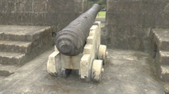 Vintage cannon view from the back Stock Footage