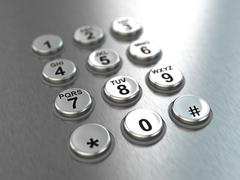 metallic pay phone keypad. - stock illustration