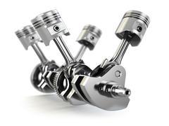 v4 engine pistons and cog - stock illustration
