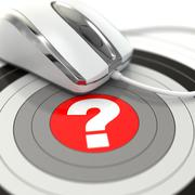 Help online. question in center of  target and mouse. Stock Illustration