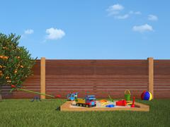 garden with children's playground - stock illustration