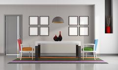 colorful dining room - stock illustration