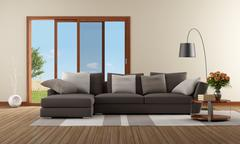 modern living room with brown sofa - stock illustration