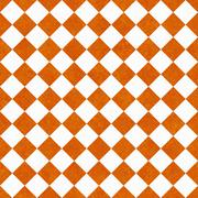 Orange and white diagonal checkers on textured fabric background Stock Illustration