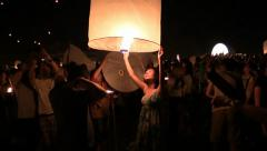 Yee Peng Celebration. Sansai, Lanterns Festival, ChiangMai. HD 1080p. Stock Footage