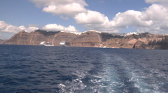 Greece, Santorini, view of Fira from the caldera - stock footage
