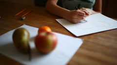 Girl hands drawing still life with fruits, Stock Footage