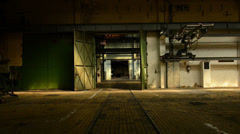 Abandoned industrial interior in dark colors Stock Footage