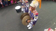 Drum and Symbals player overhead shot Stock Footage