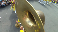 Bass horn player high angle shot Stock Footage