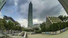 Taipei 101 tower clouds time lapse wide angle Stock Footage