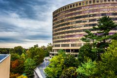 View of a large circular building in towson, maryland. Stock Photos