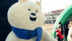 Bear - mascots Olympic Games 2014 Sochi Stock Footage
