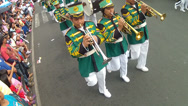 Stock Video Footage of Green Band Marching Overhead shot
