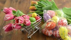 Shopping easter decoration like tulips and eggs Stock Footage