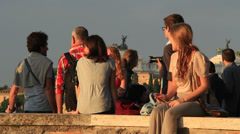Young travellers relax in Rome Stock Footage