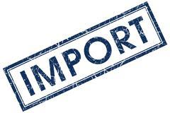 import blue square stamp - stock illustration