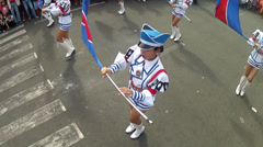 Twirling Flags by majorettes Stock Footage