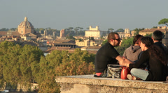 Young couple smoking in Rome Stock Footage