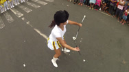 Stock Video Footage of majorette baton twirling exhibition overhead shot