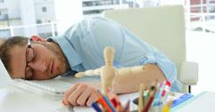 Attractive businessman sleeping Stock Footage