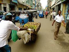 People walking on a street of pettah neighborhood, colombo, sri lanka Stock Photos