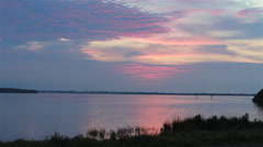 Tampa Bay sunset with pink hues - stock footage