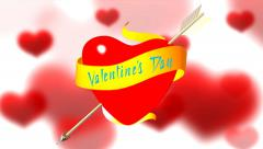 Valentine's Day. Hearts and Arrows Stock Footage