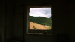 Window of an old house with beautiful mountain landscape Stock Footage