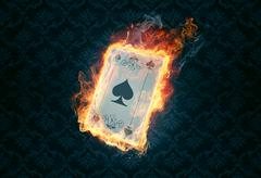 Flaming poker card Stock Illustration