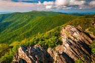 Stock Photo of view of the appalachian mountains from a cliff on hawksbill summit, in shenan