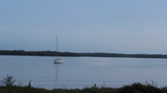 Peaceful boat on still water in Tampa Bay Stock Footage