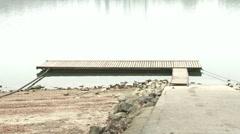 Wooden Pontoon on River Danube 1 winter Stock Footage