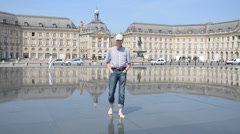 Water mirror in Bordeaux, France Stock Footage
