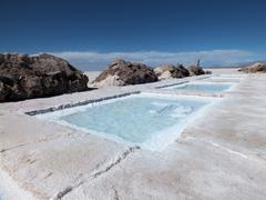 Harvesting salt in the Salinas Grandes area - stock photo