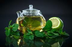 Tea with lemon and mint Stock Photos