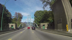 Driving over the Lion's Gate in Vancouver - stock footage