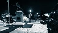 Stock Photo of the town square on a winter night, in jefferson, pennsylvania.