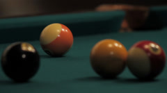 Pool/billiards game - Side pocket orange ball shot Stock Footage