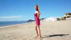 Girl Beach Sundress Encourage - stock footage