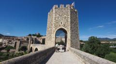 Ancient, Historical Bridge in Besalu, Spain in Timelapse Stock Footage
