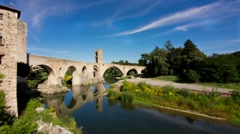 European Stone Bridge in Timelapse with Clouds Overhead Stock Footage